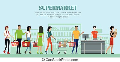 Supermarket Concept Banner in Flat Style Design. -...