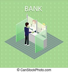 Bank Interior with Cashier - Isometric interior of the bank...