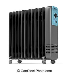 Electric oil heater on white background