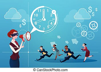 Businesswoman Hold Megaphone Business People Group Run Clock Businesspeople Time Deadline Concept