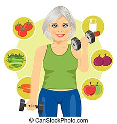 elderly woman with dumbbells and variety of healthy...