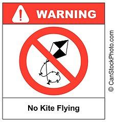 No kite flying sign. Vector illustration. Warning...