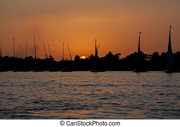 Sunset over Nile in Egypt - Scenic view of sunset on Nile in...