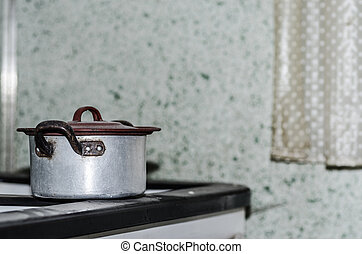 old cooking pot in a house