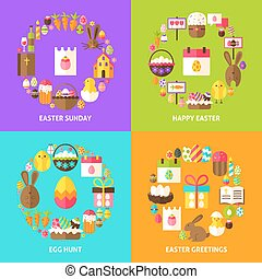 Easter Holiday Concepts Set. Poster Design Vector...