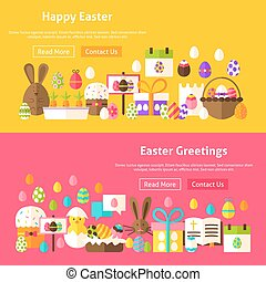 Easter Holiday Website Banners. Vector Illustration for Web...
