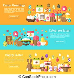 Easter Holiday Web Banners. Flat Style Vector Illustration...
