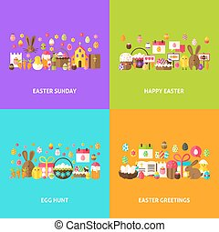 Easter Holiday Greeting Set. Flat Design Vector...