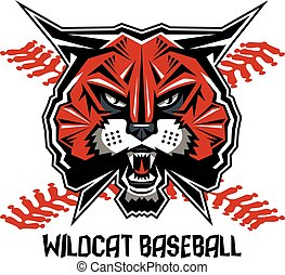 wildcat baseball team design with mascot head and red...