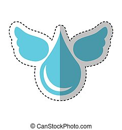 pure water drop with wings emblem vector illustration design