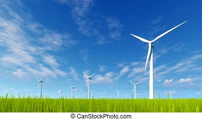 Wind turbines on a green grass field 4K