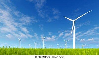 Wind turbines on a green grass field 4K - Rotating wind...