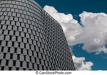 Detail of Futuristic Megastructure: Silver Building Facade...