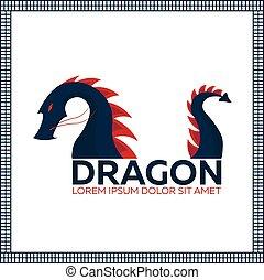 平ら, イラスト, 中国語, 伝統的である, ドラゴン, ベクトル, アジア, 東