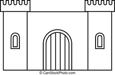 Old fortress towers icon, outline style