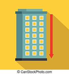 Building and red down arrow icon, flat style - Building and...