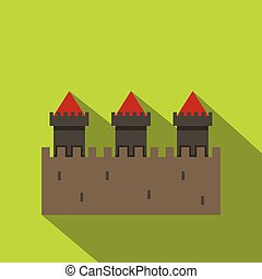 Medieval fortification icon, flat style - Medieval...
