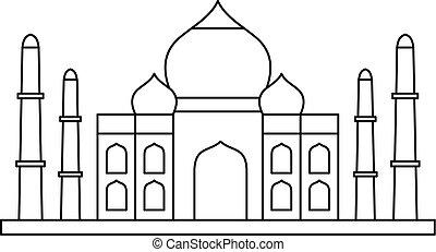 Taj mahal icon, outline style - Taj mahal icon. Outline...