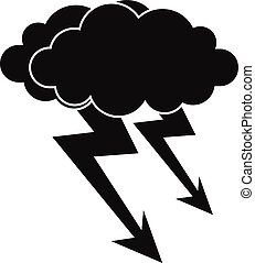 Lightning cloud icon, simple style