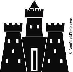 Ancient castle palace icon, simple style