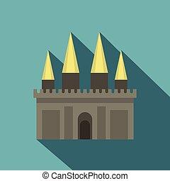 Ancient castle palace icon, flat style - Ancient castle...
