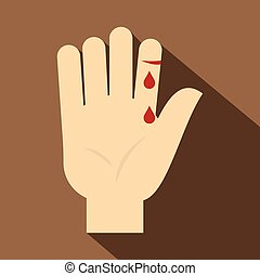 Bleeding human thumb icon, flat style - Bleeding human thumb...
