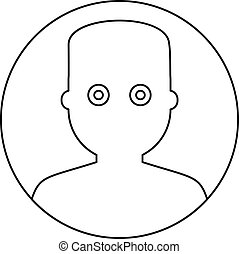 Man face with wide eyed icon, outline style