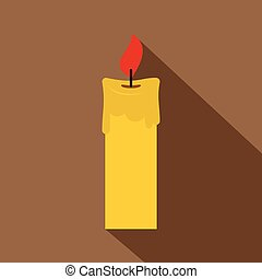 Candle icon, flat style - Candle icon. Flat illustration of...