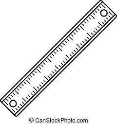 Ruler, rectangular shape icon, outline style - Ruler,...