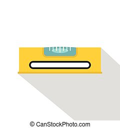 Yellow working tool bubble level icon, flat style - Yellow...