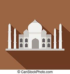 Taj Mahal icon, flat style - Taj Mahal icon. Flat...