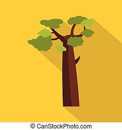 Baobab icon, flat style - Baobab icon. Flat illustration of...