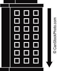 Tall building and down arrow icon, simple style - Tall...