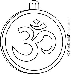 Indian coin icon, outline style - Indian coin icon. Outline...