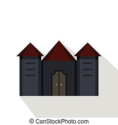 Ancient fortress icon, flat style - Ancient fortress icon....