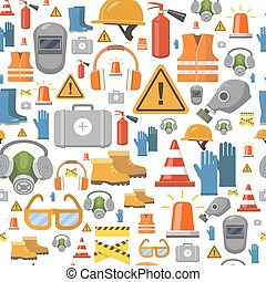 Job safety flat icons. Protective equipment seamless pattern...
