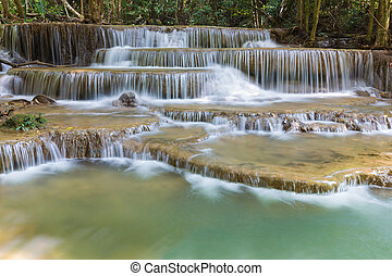 Huay Mae Ka Min waterfall in national park of Thailand,...
