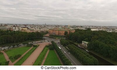 Michaels castle in Saint-Petersburg aerial