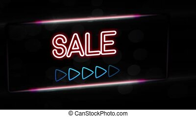 Sale - Flashing vibrant colorful neon board background