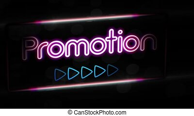 Promotion - Flashing vibrant colorful neon board background...