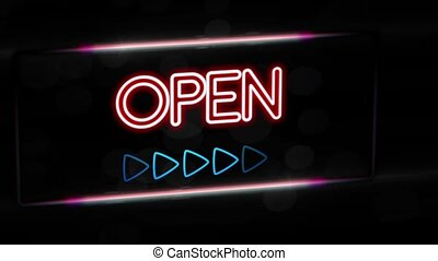 Open - Flashing vibrant colorful neon board background