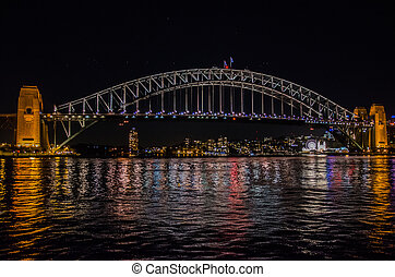 Harbour Bridge, Sydney - Die Harbour Bridge bei Nacht.