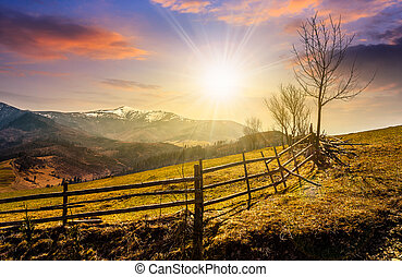 wooden fence along the path in mountains at sunset - Spring...