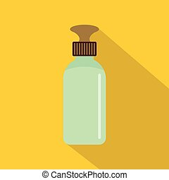 Closed vial icon, flat style - Closed vial icon. Flat...