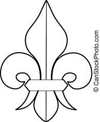 Fleur de lis icon, outline style - Fleur de lis icon....