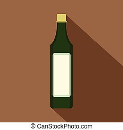 Vinegar bottle icon, flat style - Vinegar bottle icon. Flat...