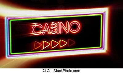 Casino - Flashing vibrant colorful neon board background