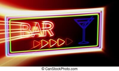 Bar - Flashing vibrant colorful neon board background -...