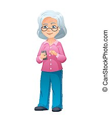 vector illustration of an old active lady with glasses, who is dressed in jeans and shirt. She is standing and surfing the internet on a smartphone