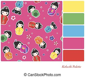 Kokeshi Palette - A seamless background of Japanese Kokeshi...